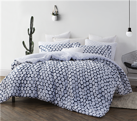 Designer College Comforter - Navy and White Dorm Bedding Extra Long Twin