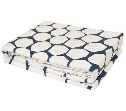Stylish College Sheet Set White and Navy Blue Midnight Hive Twin XL Bedding Essentials