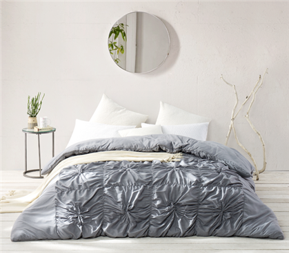 Twin Extra Long Comforter Made with Ultra Cozy Microfiber Handcrafted Au Courant Alloy Gray Essential College Bedding