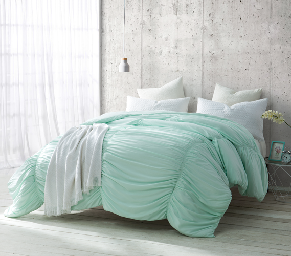 Nautica Dorm Bedding: Hint Of Mint Extra Long Twin Dorm Bedding With Cinched Texture