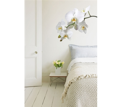White Orchid Flower Wall Art - Peel N Stick - Don't Let Dorm Walls Be Drab