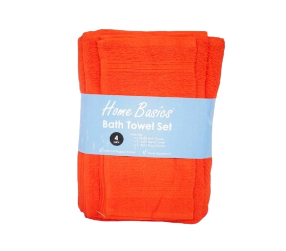 4 Piece 100 Cotton Orange Design Towel Bath Set College Student
