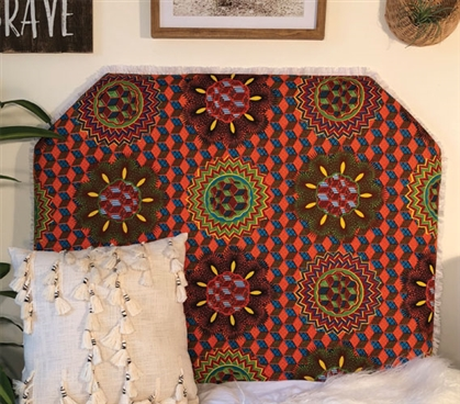 Fun College Dorm Decor Vibrant Dorm Room Headboard Vibrant African Sun Pattern