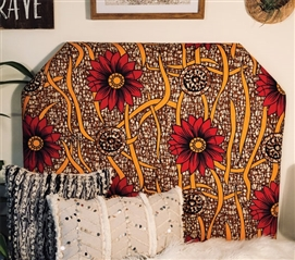 Unique Twin XL Dorm Bedding Headboard Colorful College Decor Vibrant African Wild Flower Pattern