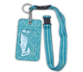 Turquoise Geo Gem Student ID Holder - Lanyard Style College Supplies Dorm Essentials