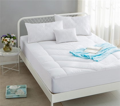 Down Alternative Fill 100% Cotton Top - Added Thickness Twin XL Mattress Pad - Elevation Gradient Stitch Pattern