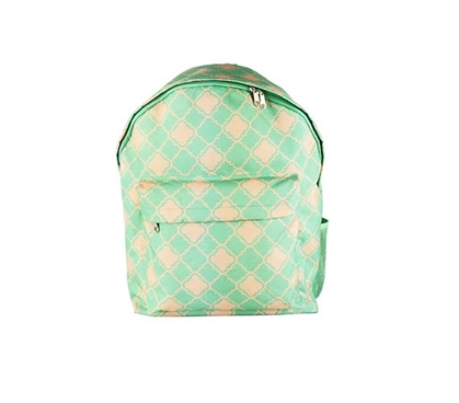 Quatrefoil Turquoise College Backpack Dorm Essentials