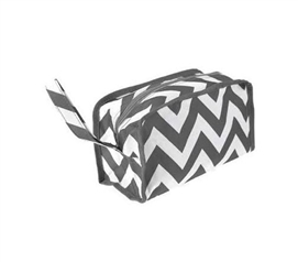 Shower Essential - Chevron Gray Travel Bag - Stylish Striped Design