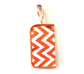 Stylish Travel Bag - Chevron Orange Travel Bag -  Wrist Strap