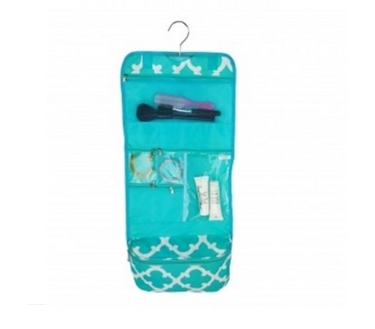 Quatrefoil Aqua - Cosmetic Bag Must Have Dorm Items Dorm Storage Solutions