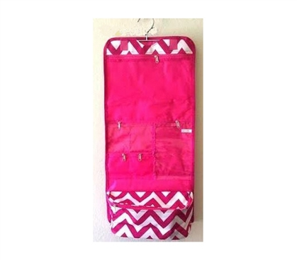Pink White Chevron - Cosmetic Bag - Travel Bag - College Bath Essential