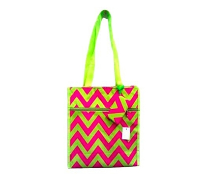 College Backpack - Chevron Tote Compact Carrier - Pink Green - Laptop Bag