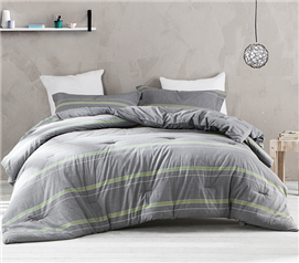 Twin XL College Gray and Lime Comforter -Must Have Dorm Bedding Items