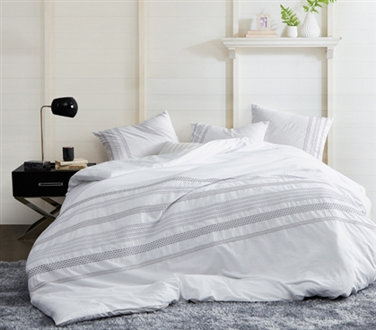 Dorm Duvet Cover for Extra Long Twin Comforter Embroidered Villa Stitch White College Bedding Essentials