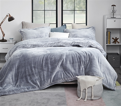 Plush Gray Oversized College Comforter Twin Extra Long Dimensions for Dorm Size Beds