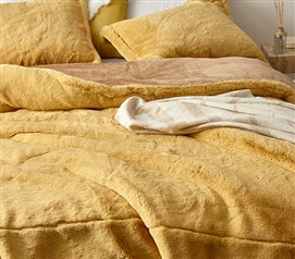 Machine Washable Dorm Comforter Set Lionhead: Sahara Sun Ultra Cozy College Bedding Made with Thick Chunky Bunny Plush