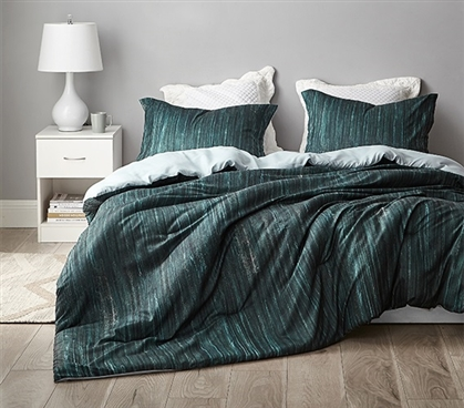 Stylish Green Dorm Bedding Decor Brucht Designer Midnight Green Cozy College Bedding Essentials