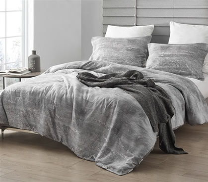 Designer College Comforter Set Made with Cozy Microfiber Icelandic Crevasse Brucht White and Gray Dorm Bedding