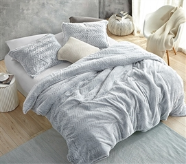 Affordable Plush College Bedding Set Peak of Cozy Coma Inducer Twin Extra Long Comforter Frosted Gray Chevron Pattern