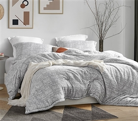 Neutral Gray Twin Extra Long Bedding Plush College Comforter with Matching Dorm Pillow Sham