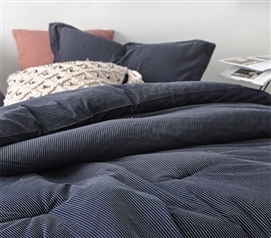 Essential Dorm Bedding Set Pinstripe Navy Designer Twin XL Comforter with Standard Size College Pillow Sham