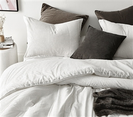 Pinstripe White Twin XL Comforter - 100% Yarn Dyed Cotton
