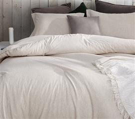 Striped Off White Taupe Neutral Dorm Bedding Set for Twin Extra Long Size Bed