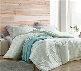 Soft Cotton Extra Long Twin Comforter Serenity Mint Green Designer College Bedding with Black and White Stripe Design