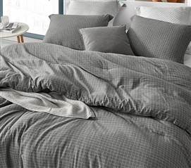 Machine Washable Dorm Bedding with Designer Grid Pattern River Stone Gray Twin Extra Long Comforter