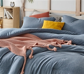 Oversized College Comforter Baltic Navy Designer XL Twin Bedding Made with Machine Washable Yarn Dyed Cotton