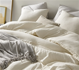 Heathered Ivory Beige Twin XL Comforter - 100% Yarn Dyed Cotton