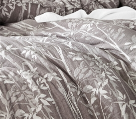 Watercolor Vine - Gray Plum Twin XL Comforter - 100% Yarn Dyed Cotton