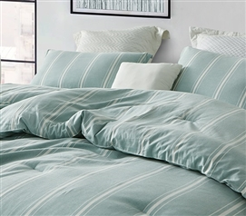 Stylish Green XL Twin Bedding Essentials Striped Pistachio Designer Dorm Bedding Made with Yarn Dyed Cotton