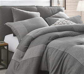 Neutral Gray Dorm Bedding Designer Volume Gray Extra Long Twin Comforter with Textured Pattern