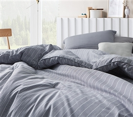 Extra Long College Comforter Set with Pillow Sham Navy Fjords Designer Dorm Bedding Decor