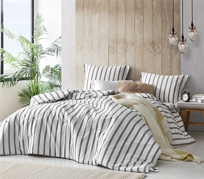 Stylish Designer College Bedding Easy to Match Refined Gray Stripe Cozy Yarn Dyed Cotton Twin XL Comforter