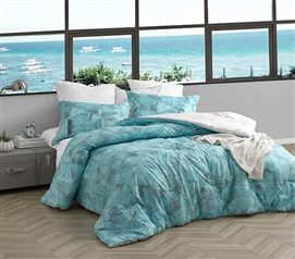 Stylish Steel Gray and Aqua Blue College Comforter Tribeca Brucht Designer Extra Long Twin Bedding