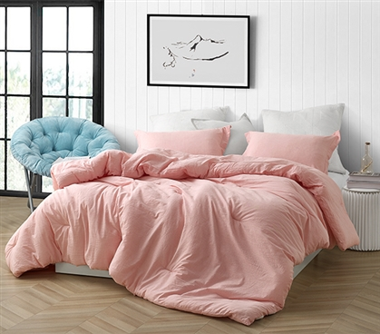 High Quality Natural Loft Twin Extra Long Comforter Yarn Dyed Cotton Red College Bedding