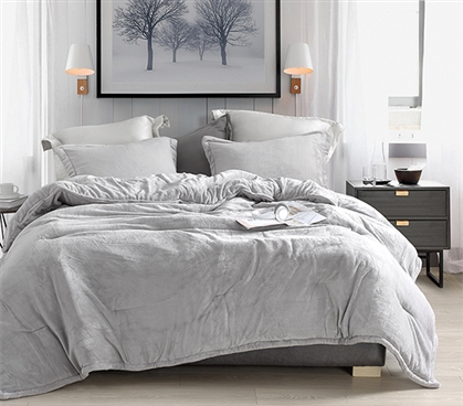 Coma Inducer Twin XL Comforter - Wait Oh What - Tundra Gray