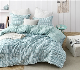 Unique Twin Extra Long Bedding Razzani Minty Designer College Comforter Green and White