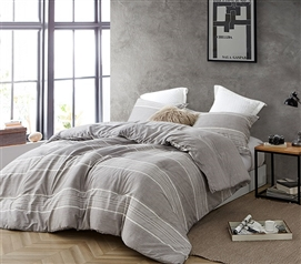 Gray Extra Long Twin Comforter Designer Greyson Ultra Cozy Cotton College Bedding