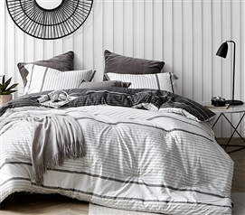 Unique Twin Extra Long Comforter Set Kappel Designer Black and White Striped Dorm Bedding