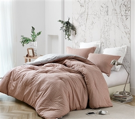 College Bedding Set with Extra Long Twin Comforter and Standard Dorm Pillow Sham Designer Restive Sierra Grid