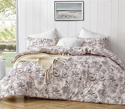 Floral Pattern Twin Extra Long Comforter Designer Wildbloom Pretty Pink College Bedding Decor