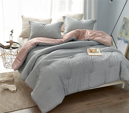 Extra Long Twin Comforter MV Grid Designer Burgundy Gray College Bedding Made with Super Soft Cotton