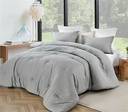 Stylish Twin Extra Long Bedding Decor Gray Jager College Comforter Made with Super Soft Cotton
