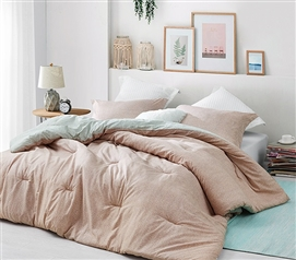 Oversized College Comforter Designer Siesta Calm Twin XL Comforter Clay Colored with Pink Tones
