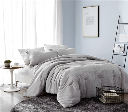 Designer Dorm Bedding Set Standard College Pillow Sham and Extra Long Twin Comforter Macha Dark Gray Yarn Dyed Stripes