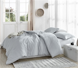 Essential Dorm Bedding Macha Slate College Comforter with Subtle Stripe Pattern and Cozy Yarn Dyed Cotton Material