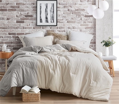 Extra Long Twin Comforter Set for Dorm Room Half Moon Designer Gray and Cream College Bedding Essentials